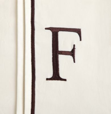 "Monogram Letter ""F"" Queen Pillowcases in Ivory (Set of 2)"