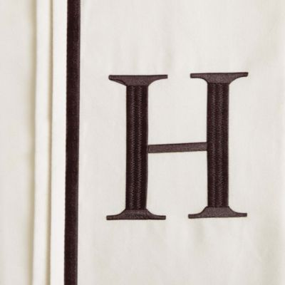 "Monogram Letter ""H"" Queen Pillowcases in Ivory (Set of 2)"