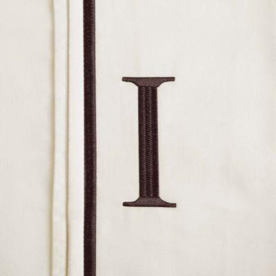 "Monogram Letter ""I"" Queen Pillowcases in Ivory (Set of 2)"