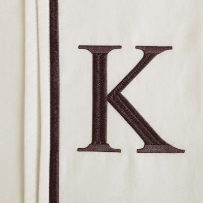 """Monogram Letter """"K"""" Queen Pillowcases in Ivory (Set of 2)"""