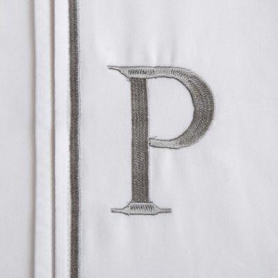 """Monogram Letter """"P"""" King Pillowcases in Ivory (Set of 2)"""
