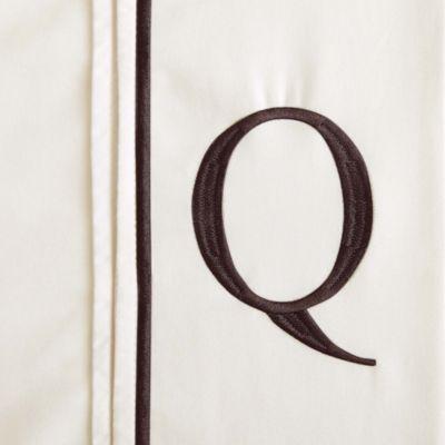 "Monogram Letter ""Q"" Queen Pillowcases in Ivory (Set of 2)"