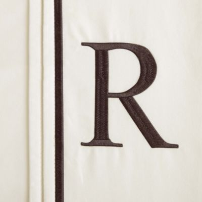 """Monogram Letter """"R"""" Queen Pillowcases in White (Set of 2)"""