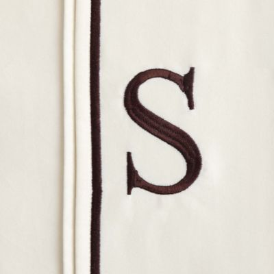"Monogram Letter ""S"" Queen Pillowcases in Ivory (Set of 2)"