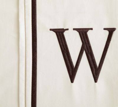 "Monogram Letter ""W"" Queen Pillowcases in Ivory (Set of 2)"