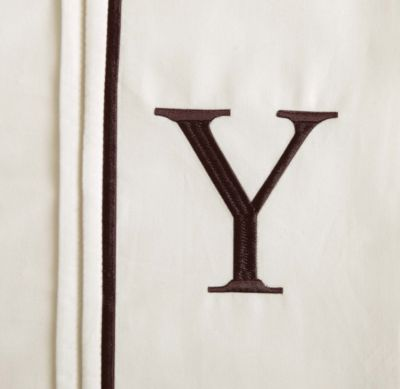 "Monogram Letter ""Y"" Queen Pillowcases in Ivory (Set of 2)"