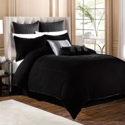 Velvet California King Bed Skirt in Black