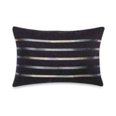 Solid Chenille Embroidered Oblong Throw Pillow in Indigo