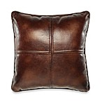Solid Chenille Faux-Leather Square Toss Pillow