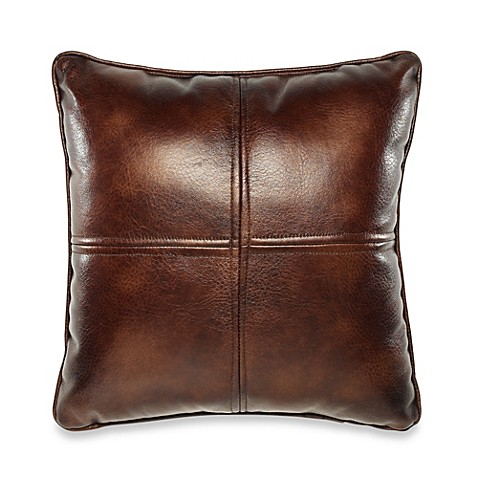 Throw Pillows Faux Leather : Solid Chenille Faux-Leather Square Throw Pillow - Bed Bath & Beyond