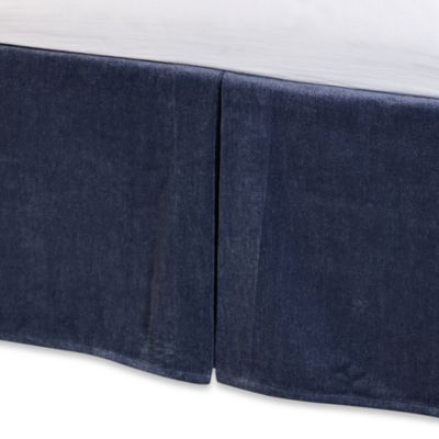 Solid Chenille Twin Bed Skirt in Indigo