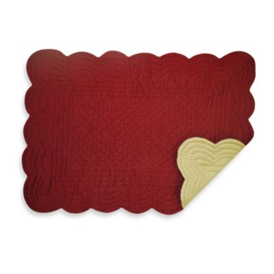 Solid 100% Cotton Quilted Placemat in Red/Tan