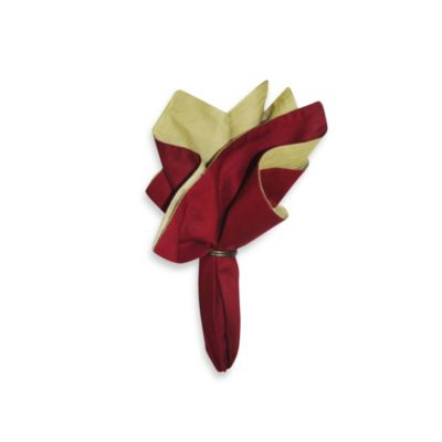Solid 100% Cotton Napkin in Red/Tan