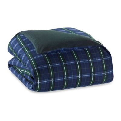 The Seasons Collection® Flannel Twin Reversible Duvet Cover in Blackwatch/Forest Green