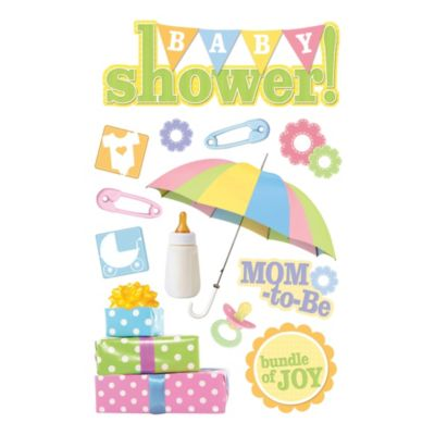 Baby Photo Albums > 3-D Embellished Baby Shower Stickers