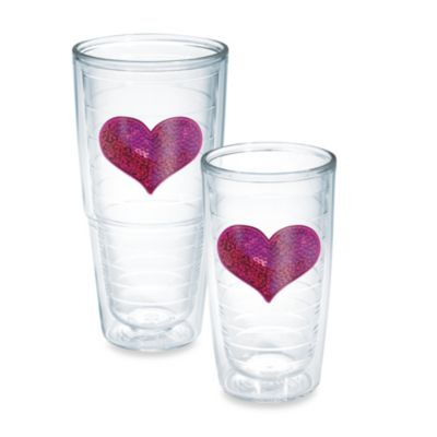 Tervis® Sequin Heart 16-Ounce Tumbler in Pink