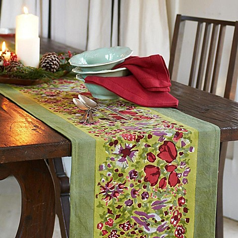 Couleur Nature Jardine Runner in Red/Green