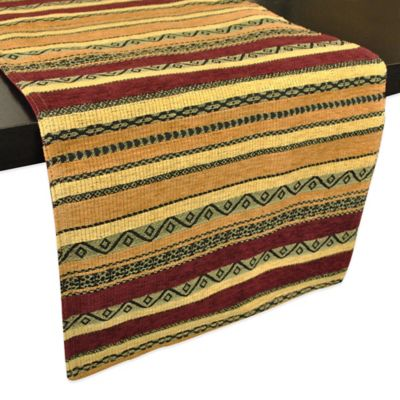 Chenille Tapestry Table Runner in Clay