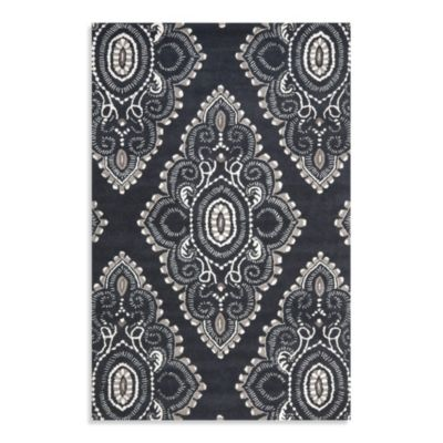 Safavieh Wyndham Amiya 4-Foot x 6-Foot Hand-Tufted Wool Accent Rug in Dark Grey/Ivory