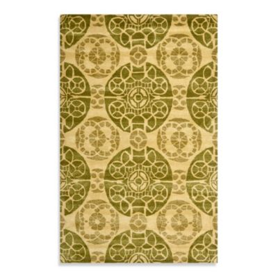 Safavieh Wyndham Irina 7-Foot Round Hand-Tufted Wool Rug in Honey/Green