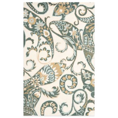 Safavieh Wyndham Nimes Paisley 2-Foot 6-Inch x 4-Foot Hand-Tufted Wool Accent Rug in Ivory/Multi