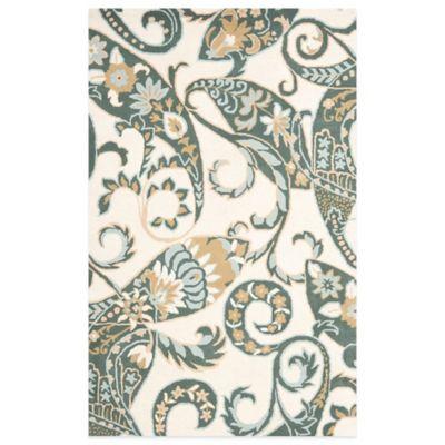 Ivory Green Wool Rug