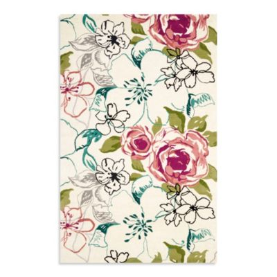 Safavieh Wyndham Sharon Rose 2-Foot 6-Inch x 4-Foot Hand-Tufted Wool Accent Rug in Ivory/Multi