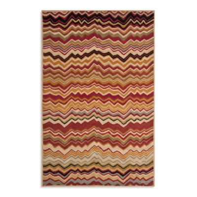 Safavieh Wyndham Amber Flame 2-Foot 6-Inch x 4-Foot Hand-Tufted Wool Accent Rug in Red/Multi