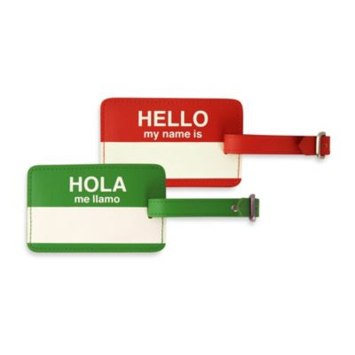 "Flight 001 ""Hola"" Luggage Tag in Green"