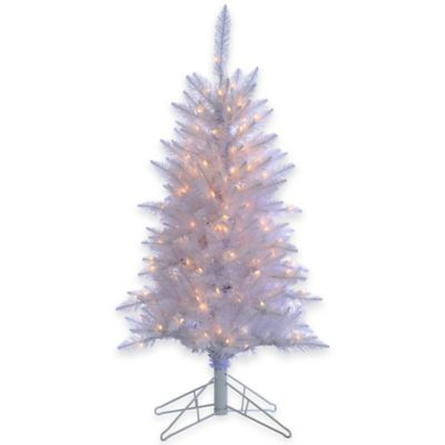 4-Foot x 28-Inch White Tinsel Tree Pre-Lit with 150 Clear Lights