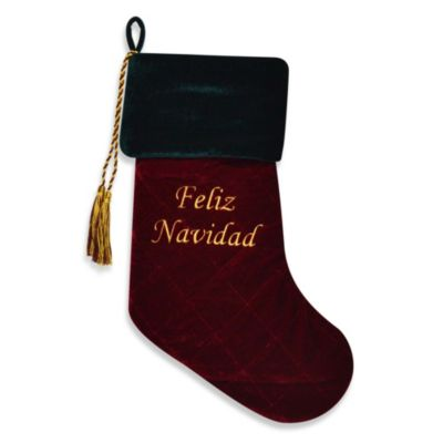 Feliz Navidad Velvet Christmas Stocking with Swarovski® Elements in Red/Green