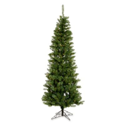 Vickerman 7.5-Foot Salem Pencil Pine Tree with White LED Lights