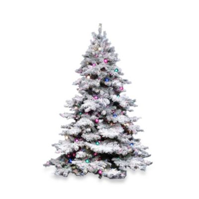Vickerman 6.5-Foot Flocked Alaskan Pine Tree with Clear Lights