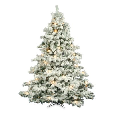 Vickerman 7-Foot 6-Inch Flocked Alaskan Pine Pre-Lit Christmas Tree with Clear and White Lights