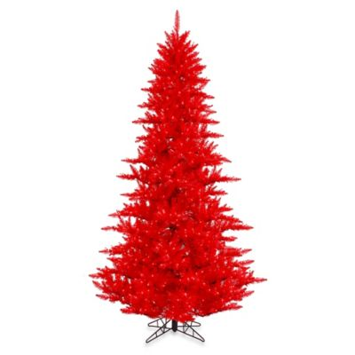 Vickerman 7-Foot 6-Inch Red Fir Pre-Lit Christmas Tree with Red Mini Lights