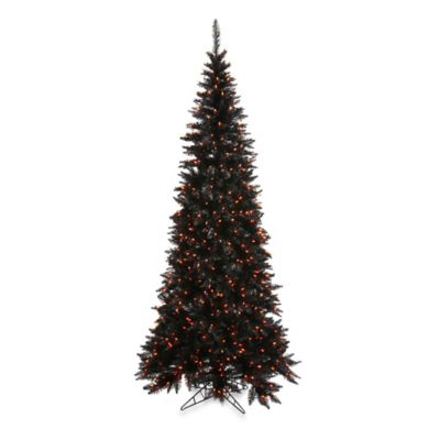 Vickerman 7-Foot 6-Inch Black Slim Fir Pre-Lit Christmas Tree with Orange Mini Lights