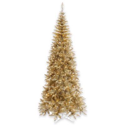 Vickerman 7.5-Foot Champagne Slim Tree with Clear Mini Lights