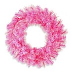 Vickerman 30-Inch Cashmere Wreath in Pink with Pink Lights