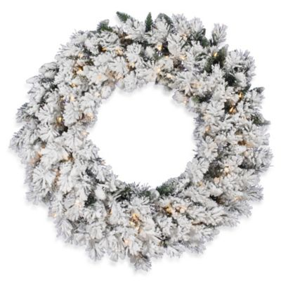 Vickerman 30-Inch Flocked Snow Ridge Wreath with Clear Lights
