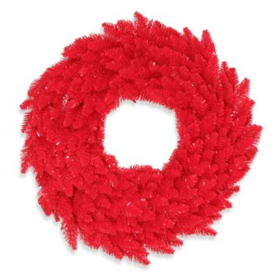Vickerman 24-Inch Red Fir Wreath with Red Mini Lights