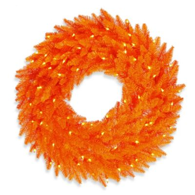 Vickerman 24-Inch Pre-Lit Fir Wreath in Orange