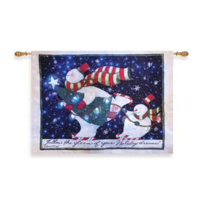 36-Inch x 26-Inch Skating with Tree Snowman Fiber Optic Wall Tapestry