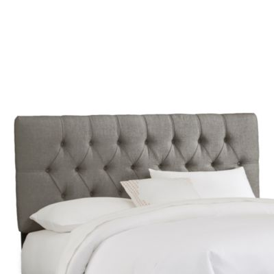 Skyline Furniture Tufted Headboard in Linen Grey