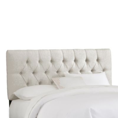 Skyline Furniture King Tufted Headboard in Linen Talc