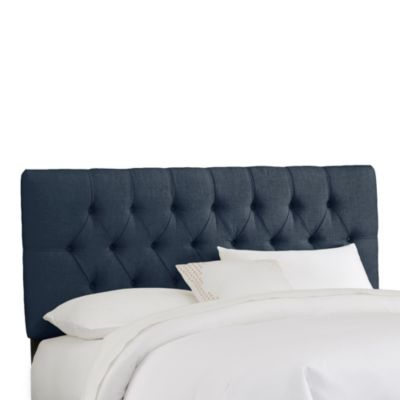 Skyline Furniture Full Tufted Headboard in Linen Navy