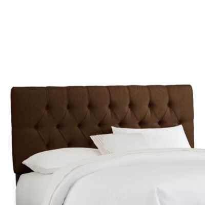 Skyline Furniture Full Tufted Headboard in Linen Chocolate