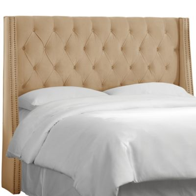 Skyline Tufted Nail Button Wingback Headboard in Velvet Buckwheat