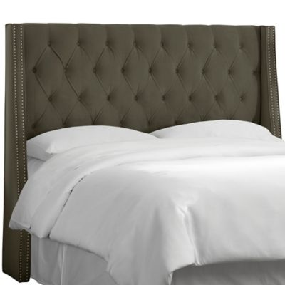 Skyline Furniture Queen Tufted Nail Button Wingback Headboard in Velvet Pewter