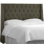 Skyline Tufted Nail Button Wingback Headboard in Velvet Pewter