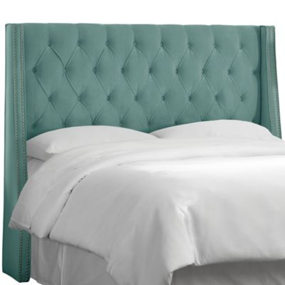 Skyline Furniture King Tufted Nail Button Wingback Headboard in Velvet Caribbean